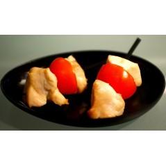 Brochettes de saumon et de poivrons sauce