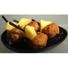 Brochette de bœuf et ananas sauce